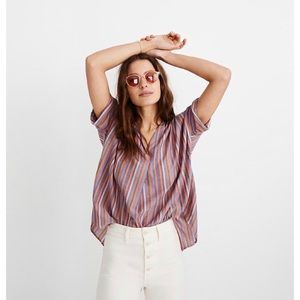 Madewell | courier rainbow stripe button back top